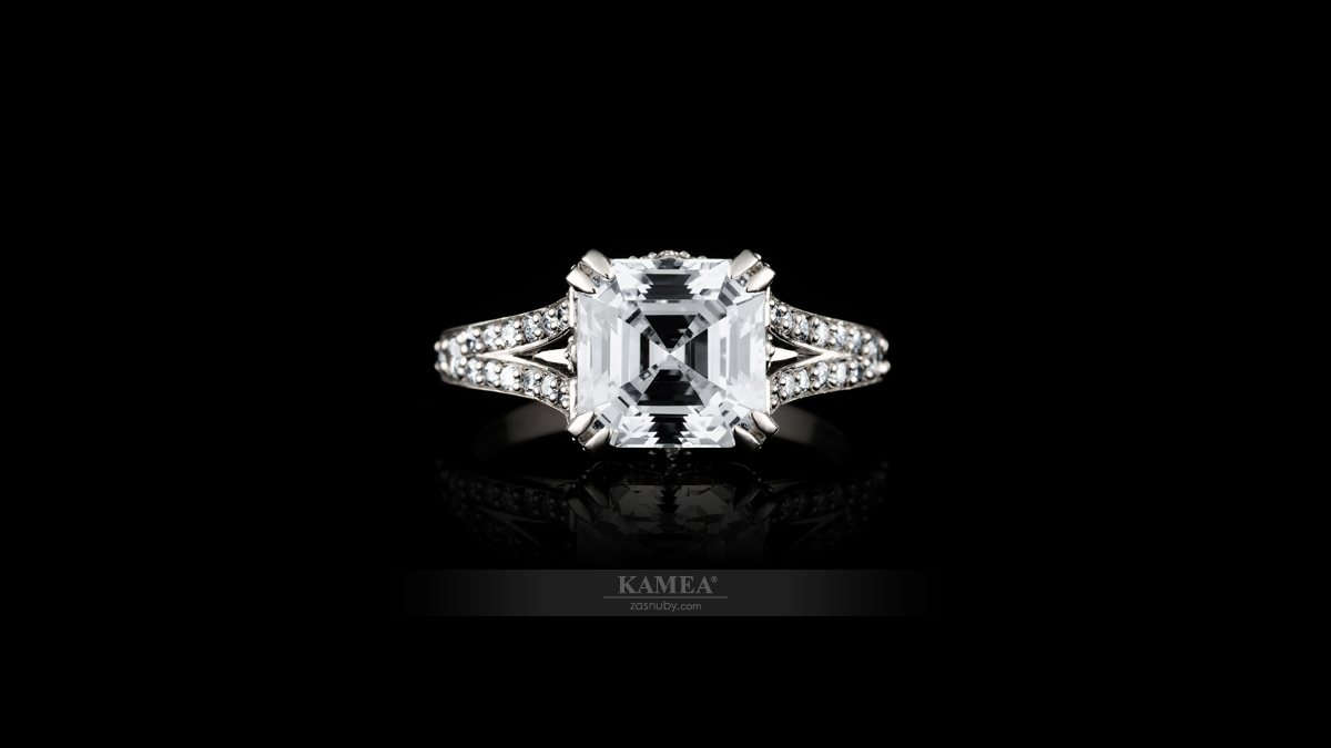 Asscher briliant osadený do prsteňa | Celebrity collection CC-07