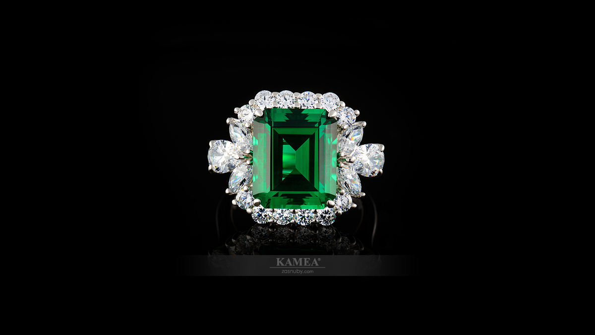 Emerald smaragd osadený do prsteňa | Celebrity collection CC-02