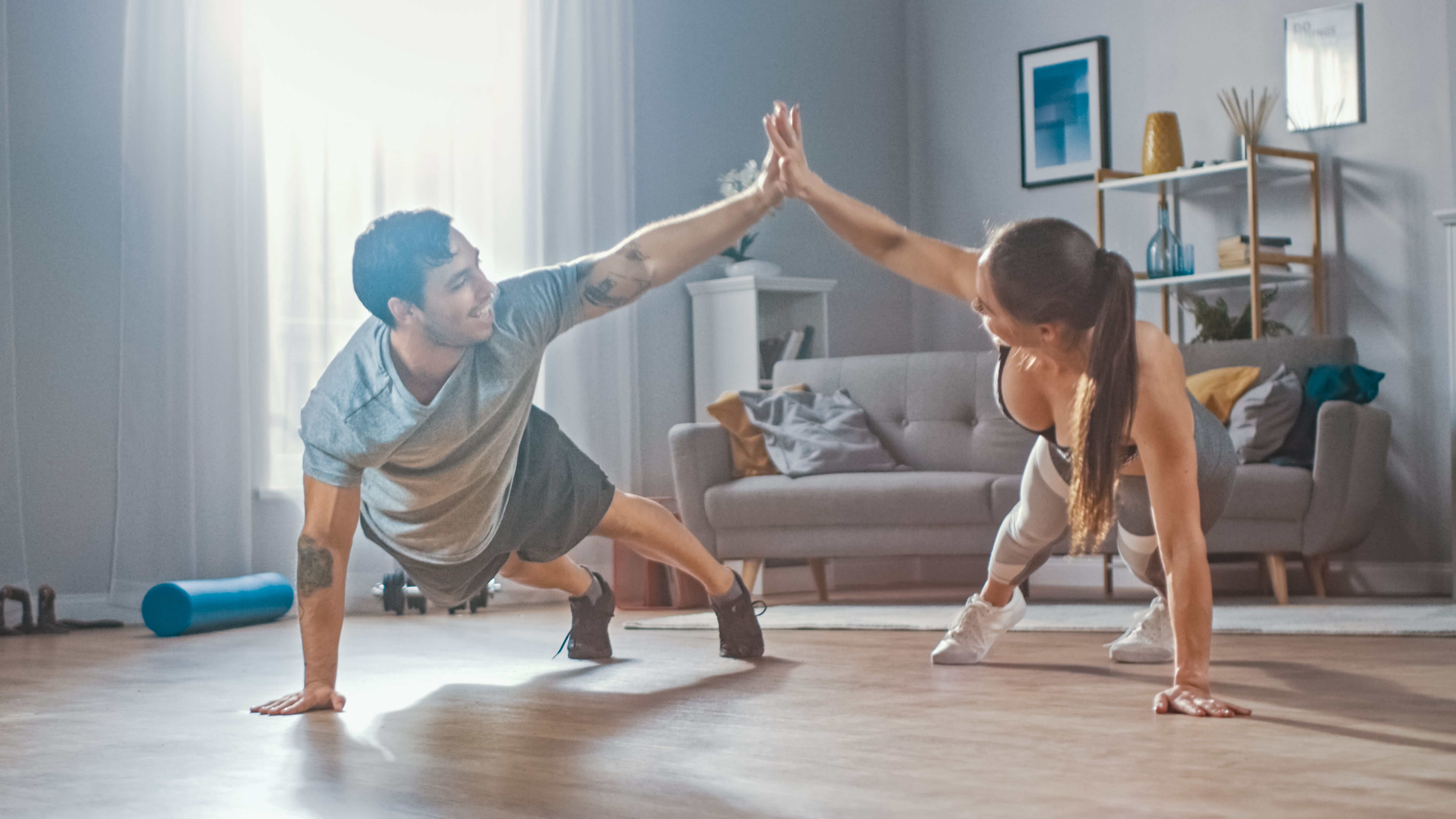 Strong,And,Beautiful,Athletic,Fitness,Couple,In,Workout,Clothes,Doing