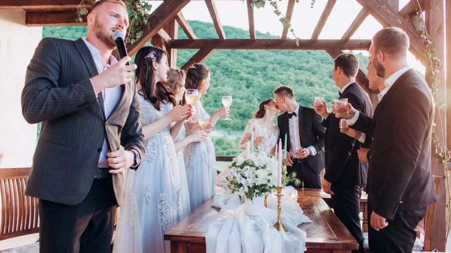 Boho,Style,Wedding,Party.,Banquet,With,Friends,,Bride,And,Groom.